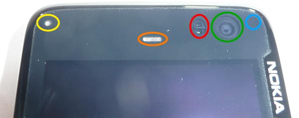 N900 Status Led, Phone Speaker, Proximity Sensor, Front Camera And Light  Sensor