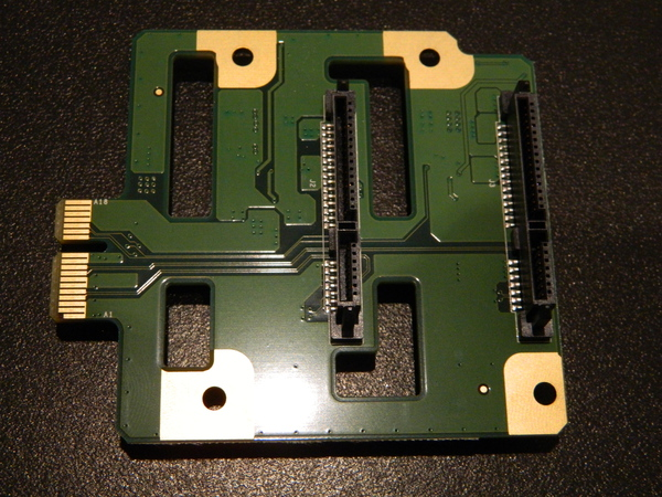 Front of first daughter board, with SATA plugs for disks